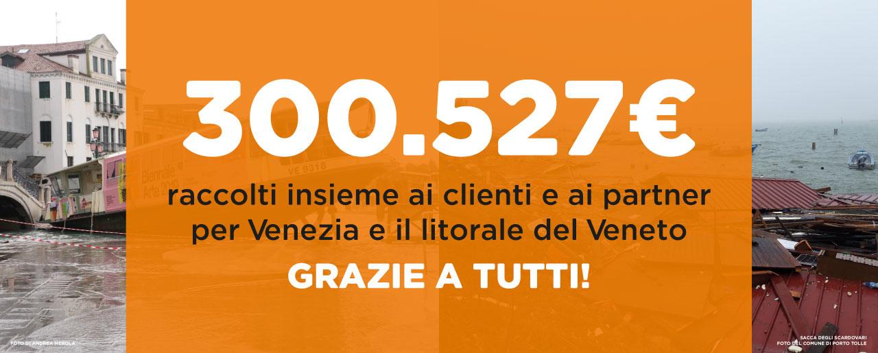 300.527 € raccolti dal Gruppo Alì per l'emergenza maltempo del litorale veneto