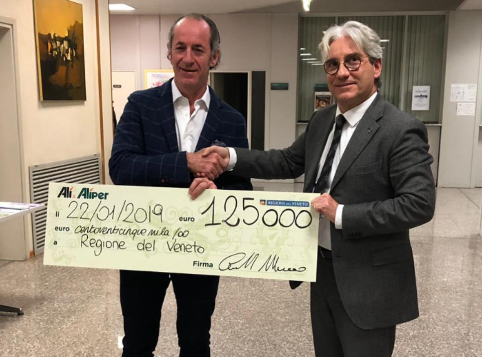 Emergenza Veneto, donati 125.000 € alla Regione Veneto