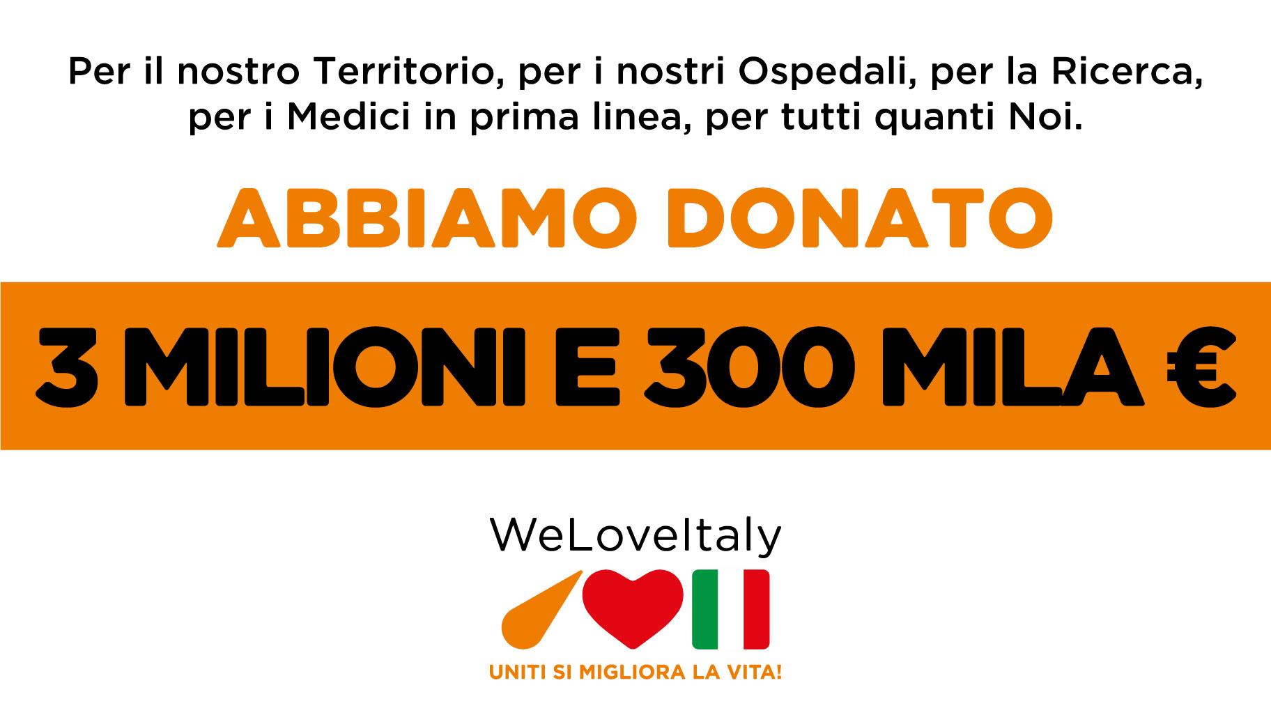 Donati 3 milioni e 300 mila euro