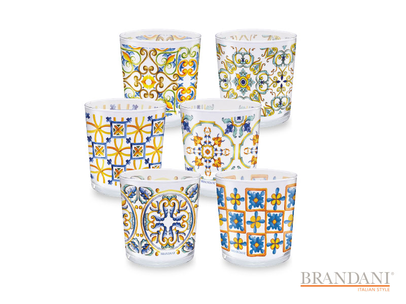 SET 6 BICCHIERI DECORATI BRANDANI